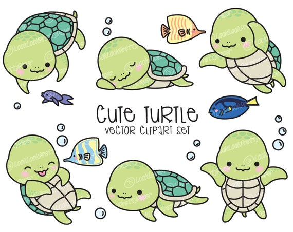 premium vector clipart kawaii turtle cute turtle clipart rh etsy com Cute Turtle Clip Art Black and White cute turtle clip art free