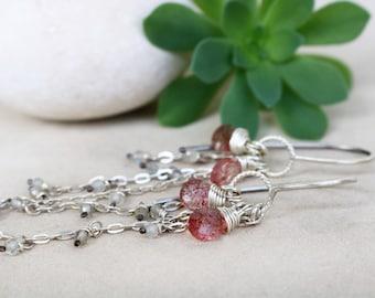 Labradorite Silver Dangle Earrings, Labradorite Cluster Silver Earrings, Gift for Women, Gift for Bride, Summer Long Earrings