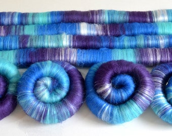 BFL and Silk Rolags - 100 grams Rainbow Hand Blended Blue Faced Leicester Rolags for Spinning