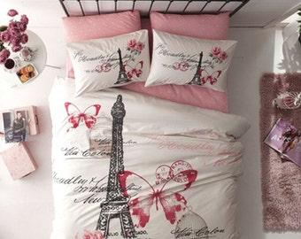 Paris Eiffel Tower Twin Full Double Queen Bedding Duvet Cover Quilt Cover