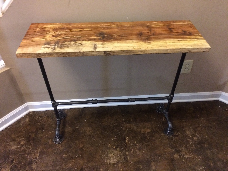 Barnwood Black Pipe Entryway Table, Rustic Barnwood Table, Entryway Table,  Industrial Pipe Table, Farmhouse Table    1 X 12 X 35 3/4