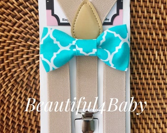 Teal Little Boy Bow Tie and Suspender Set, Suspender and Bowtie Set- 6 Months to 5 Years Old