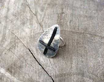 "Sterling Silver and Waxed Cotton Cord ""Invert"" Ring"