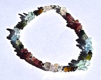 Aquamarine, Tourmaline, Blue Topaz All Natural Gemstone Anklet