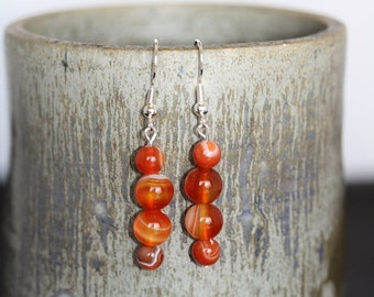 Red Line Agate Earrings - Item 1503