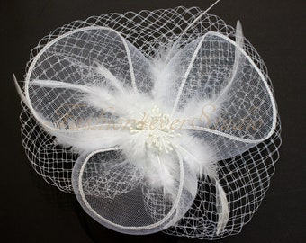 White Headpiece 9 inches, Flower Fascinator, Feather Headpiece, Flower Fascinator, Feather Fascinator, With Hair Clip and Brooch Pin Back