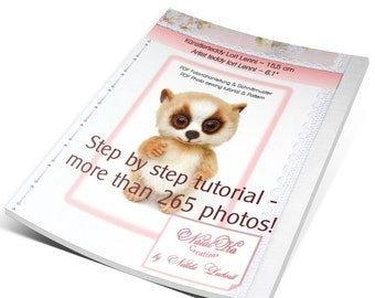 "PDF tutorial  and pattern teddy loris Lenni 6.1"", ePattern, master class, step by step sewing instruction, instant download, workshop lemur"
