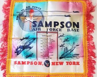 Vintage 1950s US Air Force Sweetheart Pillow Sham - Sampson Air Force Base New York - Genuine and Original - Beautiful Colors - w/ Envelope