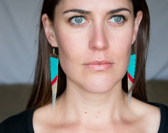 Bala // Loom Beaded Earrings // Silver Turquoise and Red // Statement Jewelry