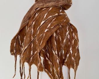 Wool Felted Scarf  Wool Felted Wrap  Merino Wool Shawl  Wool Felting