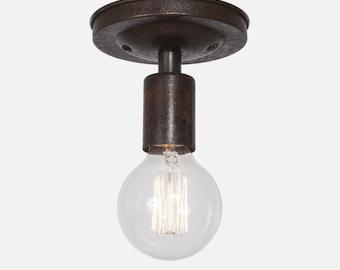 Ebonized Rust Flush Mount Ceiling Light Fixture, Rustic Ceiling Light, Kitchen Lighting, Bathroom Vanity Lighting, Brass Ceiling Fixture