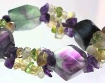 Mothers Day Bracelet Jewelry, Fluorite Crystal Bracelet w/ Reiki / Rainbow Fluorite Jewelry / Healing Crystals and Stones Bracelet Jewelry