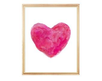 Hot Pink Girls Decor, Hot Pink Art, 8x10 Watercolor Heart Print, Fuchsia Decor, Hot Pink Nursery Art, Hot Pink Wall Decor, Hot Pink Print