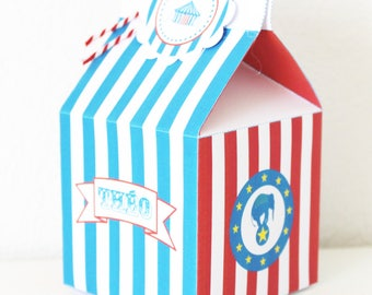 20 boxes with candy to paper-circus theme party table - custom name of child or popcorn