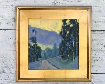 California Landscape, Oil Painting, Original Artwork, Evening Splendor, Sunset Yellow Sky, California Artist, Gift for Art Lovers, Gifts Her