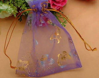 "DIY ~ Purple and Metallic Gold Organza Favor Bags w/Butterfly Print 3.8"" x 4.7"" ~ Perfect for Favors, Parties, Weddings, Gifts or Jewelry"