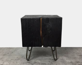 Timber Side Table / Wood Block Coffee Table / End Table / Tree Stump Table / Charred Finish