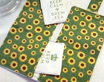 Tea Bag Wallet, MINI SUNFLOWERS,  Four Pockets, Handmade, FREE Shipping USa, Holds Tea & Sweetener - Also Travel Jewelry Wallet