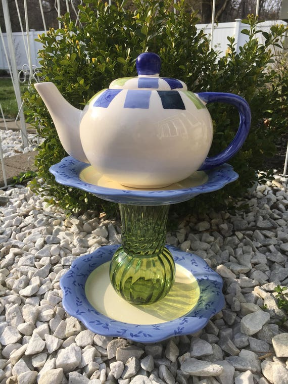 Teapot whimsy upcycled yard art teapot garden decor for Upcycled yard decor