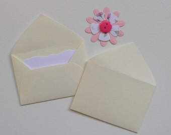 Ivory Mini envelopes with inserts, Paper ephemera, Paper embellishments, Journaling, Project Life, Little party favors, Sets of 10, 25, 50