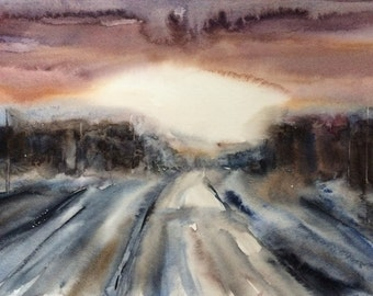 Abstract landscape watercolor painting, abstract landscape, landscape watercolor, watercolor landscape, woodland, forest, moody landscape