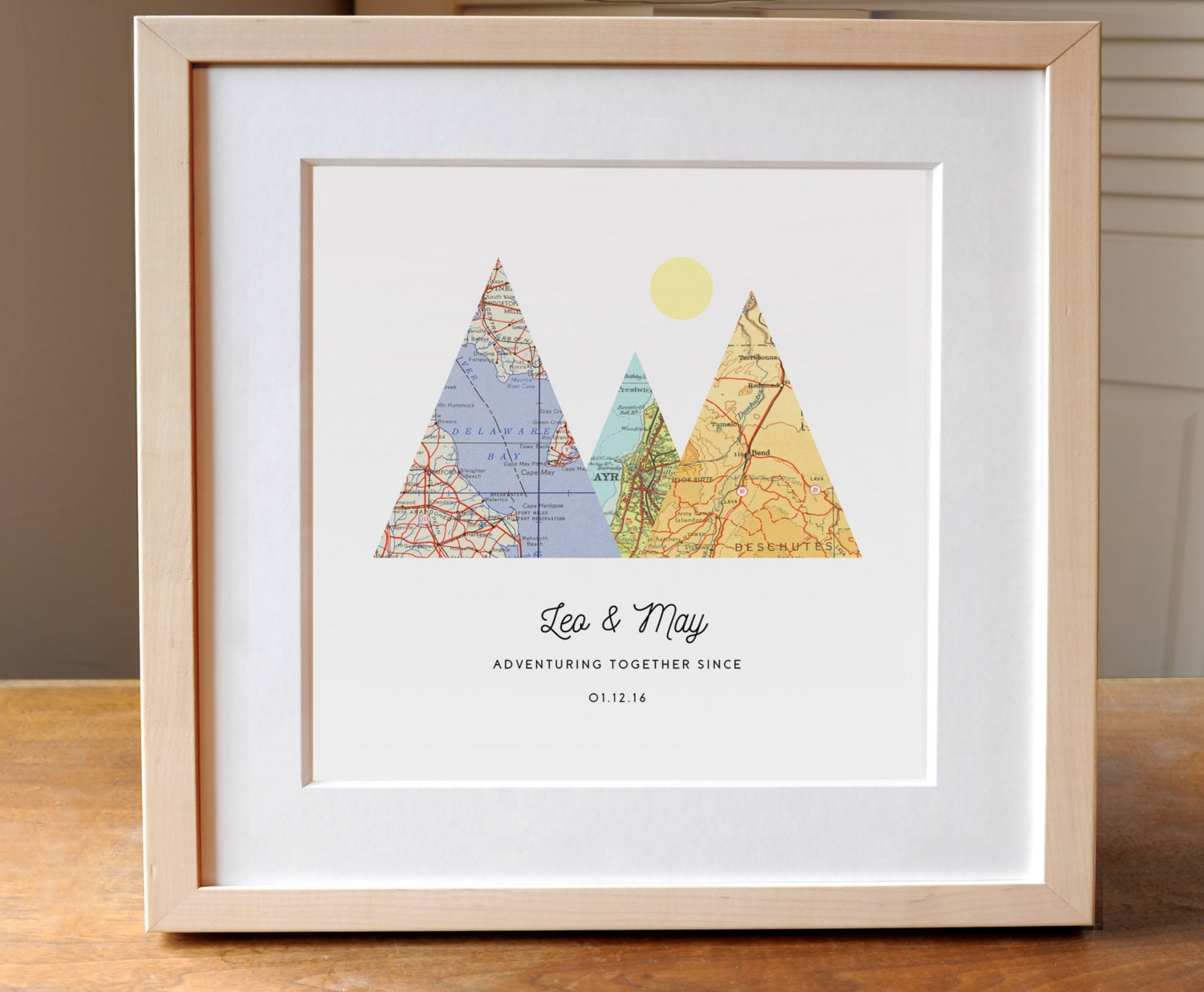 Adventure Together Map Mountain Personalized Wedding Gift Art