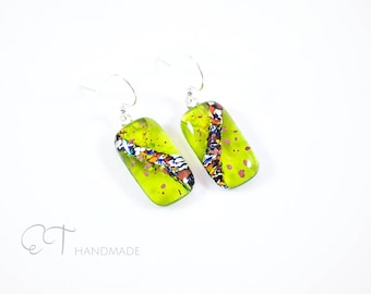 Lime green Murano glass earrings - Unique italian jewelry dangle earrings for sensitive ears - Unique gifts for women - vulcan