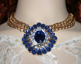 Vintage Victorian Edwardian Gold Tone Metal Blue & Clear Rhinestone Chunky Pendant Necklace HUGE