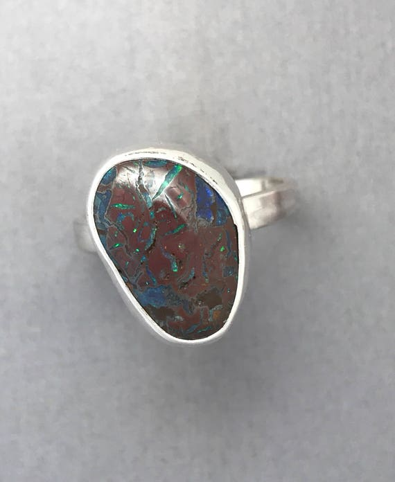 Koroit boulder opal ring, size 10