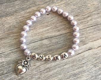 Personalized Girl Bracelet, Flower Girl Bracelet, Pearl Bracelet, Flower Girl Jewelry, Little Girl Bracelet, Kids Jewelry, Gift for Children