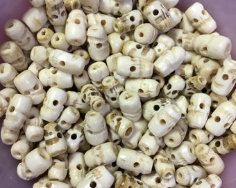Bone hand crafted skull trade beads