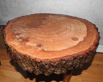Handmade oak slice coffee table