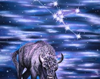 Taurus : taurus gift idea, taurus original art, zodiac sign artwork, taurus drawing, taurus painting, taurus birthday gift, taurus artwork