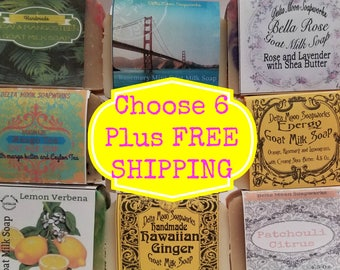 Your choice of 6 full sized Goat Milk Soaps, FREE SHIPPING,  ready to ship,  Birthday Gift,  sensitive skin, facial soap, gift for her