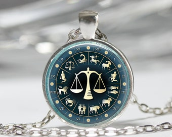 Libra Necklace Zodiac Jewelry Scales September October Birthday Astrology Art Pendant in Bronze or Silver with Link Chain included