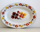 SALE 50 OFF Vintage Enamel Tray Flowers Home Decor