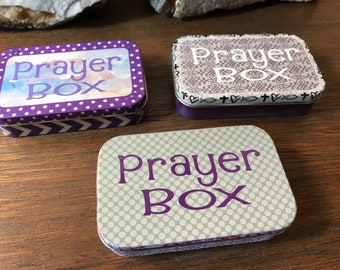OMBRE purple + blues +gray PRAYER BOX peace t faith t blessing box