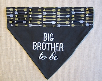 Reversible Big Brother to be dog bandana Reversible black with gold and white arrow Over the collar bandana New Baby announcement Photo prop