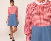 70s Mini Dress Red Gingham Eyelet Lace Collar 60s Mod Dress Babydoll Long Sleeve Empire Waist Plaid Checkered Vintage MiniDress Medium