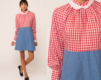 70s Mini Dress Red Gingham Eyelet Lace Collar 60s Mod Dress Babydoll Long Sleeve Empire Waist Plaid Checkered Vintage MiniDress Medium