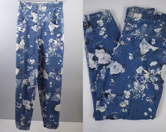 High Waisted Jeans Vintage 80s Benetton Floral Jeans Mom Jeans Womens Medium Jeans