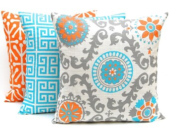 Decorative Pillow Covers, Turquoise and Orange Pillow Covers, Set of Three 18 x 18, Turquoise Pillow Covers, Orange Pillows, Sofa Pillows
