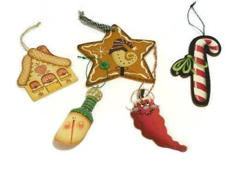 Five Hand Painted Ornaments | Tole Painted Ornaments | Christmas Tree Ornaments