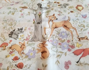 Deer Nursery Fabric | Deer Bird Mushroom | Girl Nursery | Boy Nursery | Rabbit Fabric