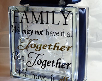 Deco Light Block with a Family Together Motto