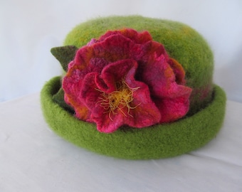 Green Felt Hat with Flower Pin