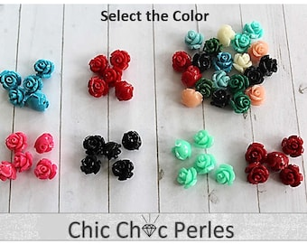 10 pcs Red Rose Beads Fuchsia Turquoise Blue Black Rose Mint 10mm (VE215)