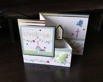 3D Pop Up Z-Fold Christening Card - luxury quality bespoke UK Mum/Daughter/Aunt/Niece/Grandma/Sister