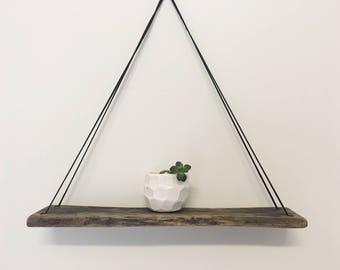 Wood Swing Shelf - Reclaimed Wood - Black Leather - Weathered Wood Shelf - Farmhouse Shelf - Minimalist Shelf