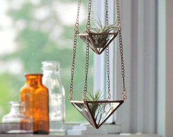 Air Plant Holder Mini 3 Tiered Faceted Stained Glass Hanging Terrarium Clear Copper Vertical Garden Made in Canada
